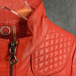 One Girl Who Jackets & Coats - One Girl Who Red Leather Moto Jacket Quilted M